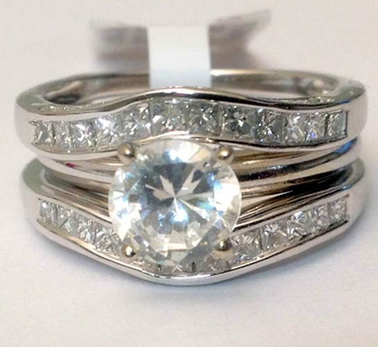 14kt White Gold Solitaire Enhancer Diamonds Ring Guard Wrap