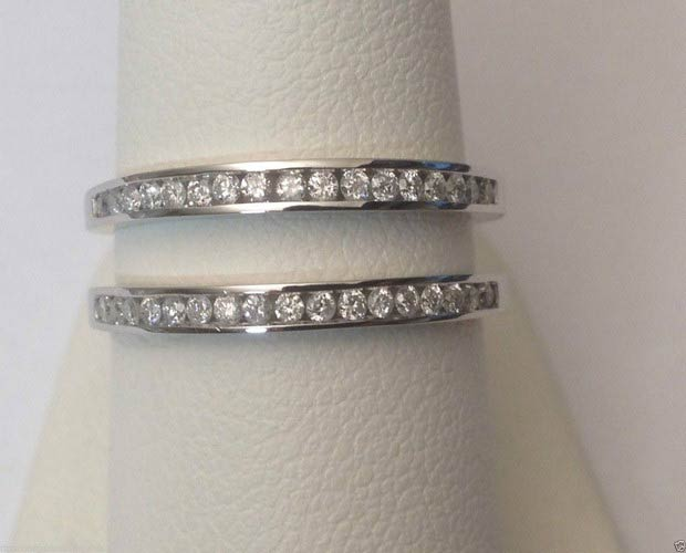14kt White Gold Channel Set Solitaire Enhancer Diamonds Ring Guard