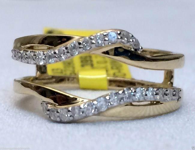 10kt Yellow Gold Wave Design Solitaire Enhancer Diamonds Ring