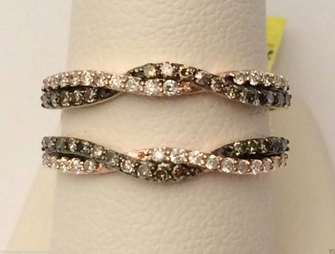 10kt Rose Gold Wave Solitaire Enhancer Chocolate Champagne Diamonds