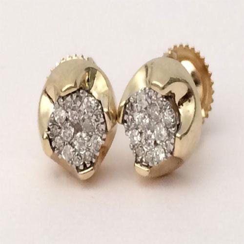 5227825ef 10K Yellow Gold Diamond Flower Studs Concave Kite Pave Men Ladies ...
