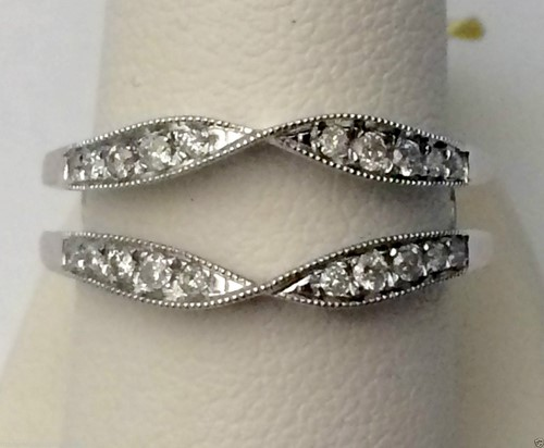 14kt white gold solitaire enhancer ring guard wrap
