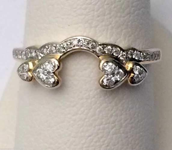 14k Yellow Gold Diamonds Heart Solitaire Wrap Ring Guard Enhancer