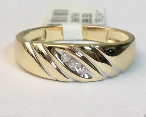 Kt yellow gold past present future three stone mens wedding