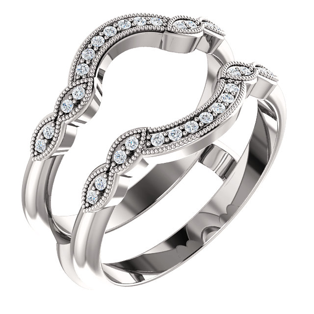 14kt white gold with round diamond ring guard engagement wedding ring enhancer - Wedding Ring Guard