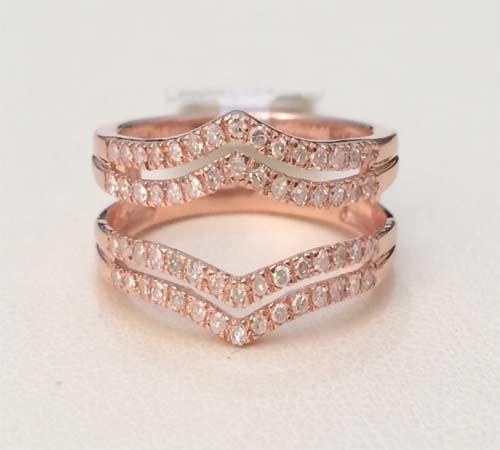 10k Rose Gold Solitaire Enhancer Diamonds Ring Double Row Guard Wrap
