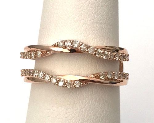 14k Rose Gold Wave Design Solitaire Enhancer Diamonds Ring Guard Wrap Jacket 0 30ct By Rg D