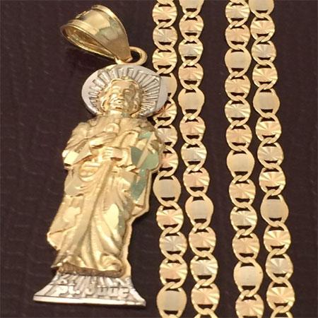 6c876d4033d Religious 14k Yellow White Gold St Jude Pendant Charm Valentino ...