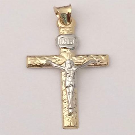 14k Yellow Gold INRI Diamond-cut Crucifix Charm