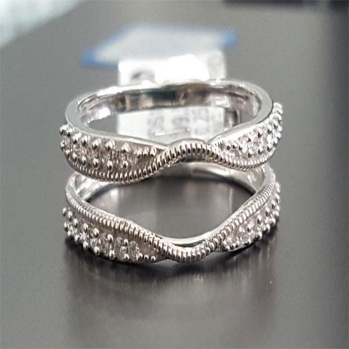 10k White Gold Round Diamond Wedding Engagment Enchancer