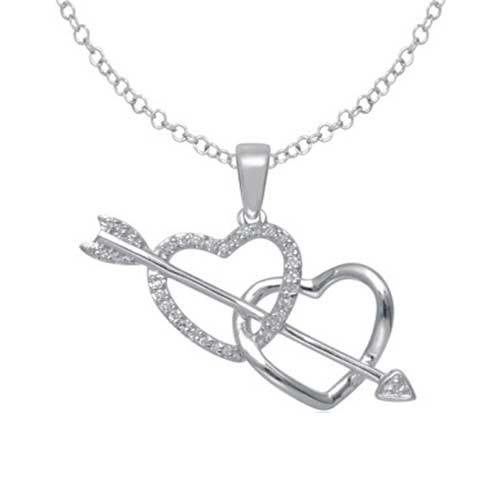 10kt White Gold Two Heart Shape Style With Round Diamonds