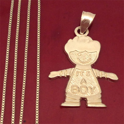 ea4516760 14k Yellow Gold Boy New Born Baby Tiny Charm Pendant Box chain 18 ...
