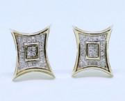 777c153df 10K Yellow Gold Diamond Studs Concave Kite Pave Mens Ladies Earrings 0.09 Ct