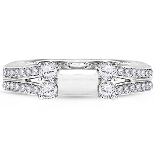 14kt White Gold Diamonds Station Solitaire Wrap Ring Guard