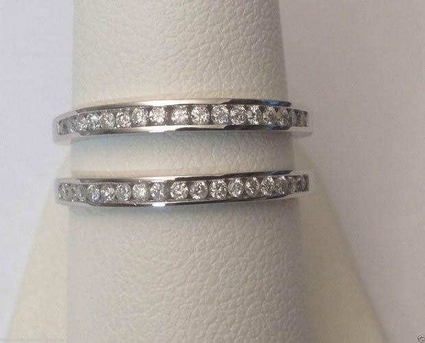 14kt White Gold Channel Set Solitaire Enhancer Diamonds Ring Guard