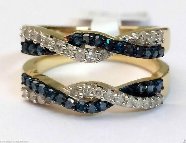 10kt Yellow Gold Wave Design Solitaire Enhancer Blue Diamond Ring