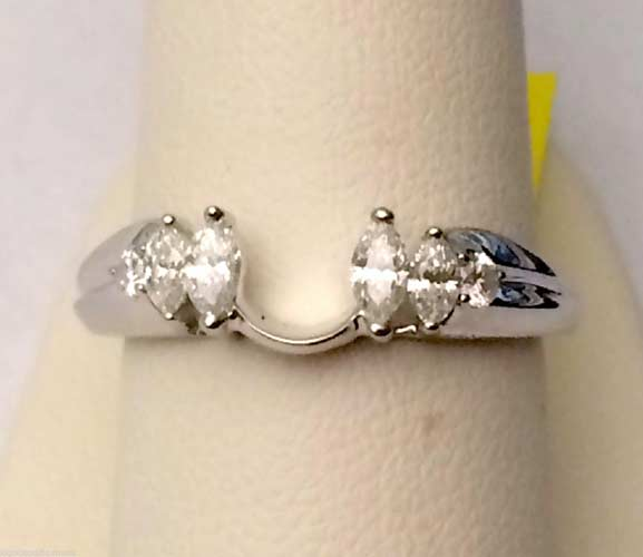 14k White Gold Marquise Diamonds Solitaire Wrap Ring Guard