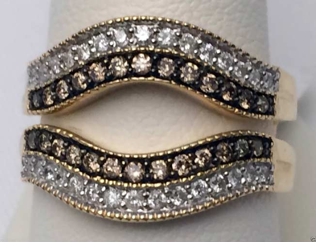 10kt Yellow Gold Solitaire Enhancer Champagne White Diamonds Ring
